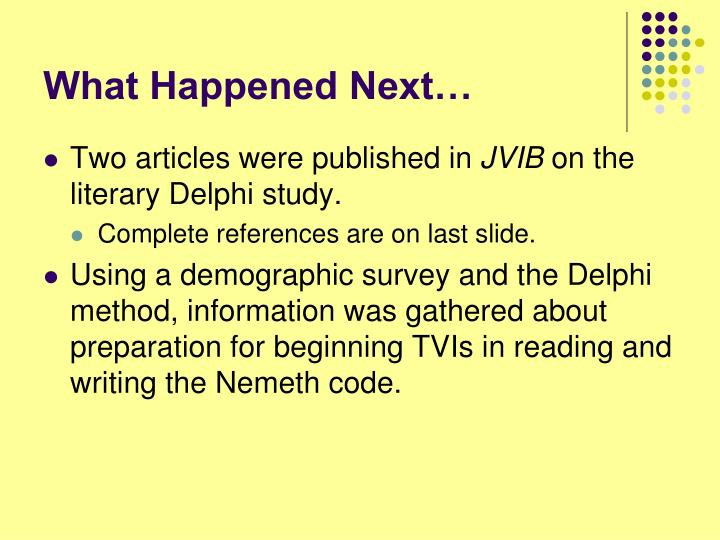 What Happened Next…