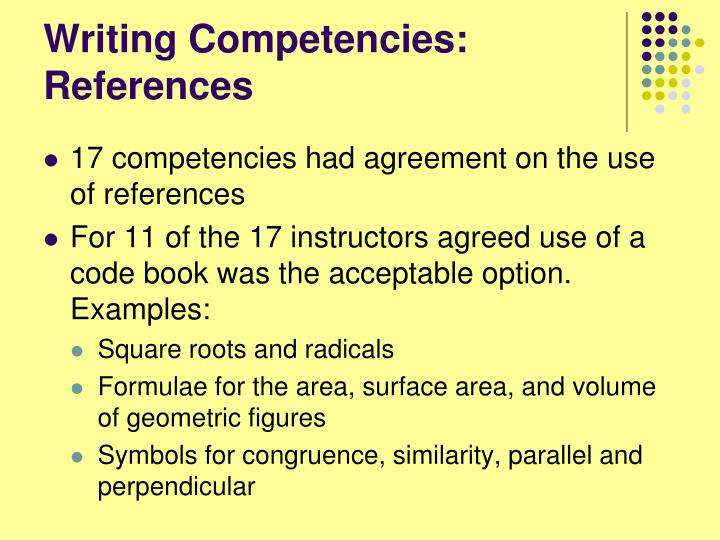 Writing Competencies: References