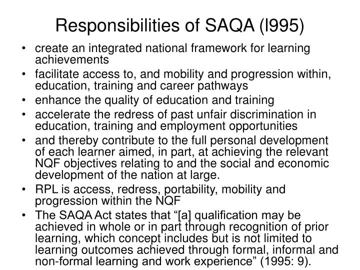 Responsibilities of SAQA (l995)