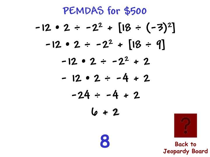 PEMDAS for $500