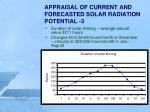 appraisal of current and forecasted solar radiation potential 3