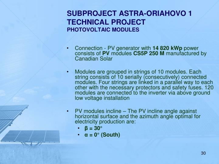 SUBPROJECT ASTRA-ORIAHOVO 1 TECHNICAL PROJECT