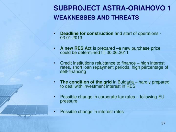 SUBPROJECT ASTRA-ORIAHOVO