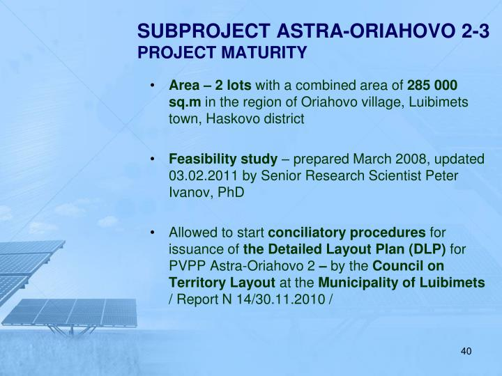 SUBPROJECT ASTRA-ORIAHOVO 2-3