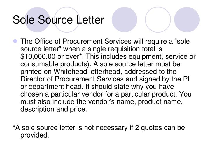 Sole Source Letter