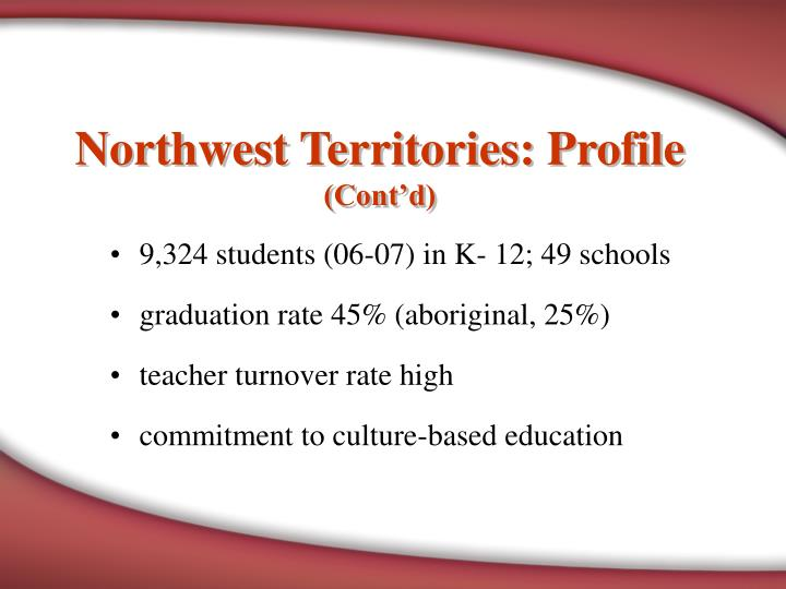Northwest territories profile cont d