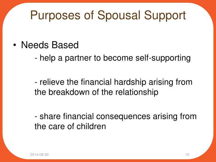 Purposes of Spousal Support