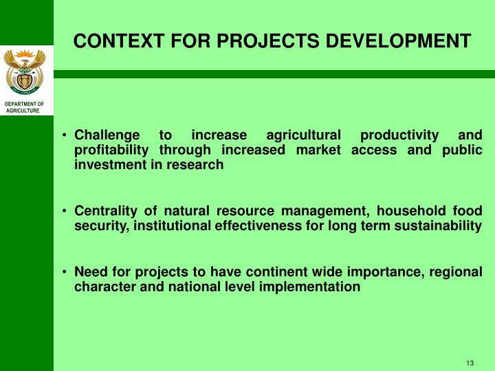 CONTEXT FOR PROJECTS DEVELOPMENT