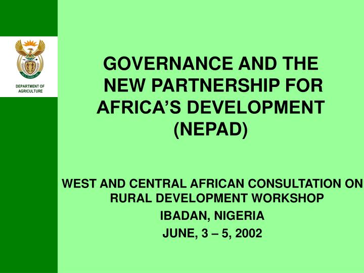 Governance and the new partnership for africa s development nepad