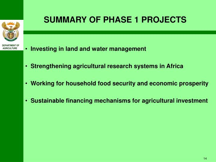SUMMARY OF PHASE 1 PROJECTS