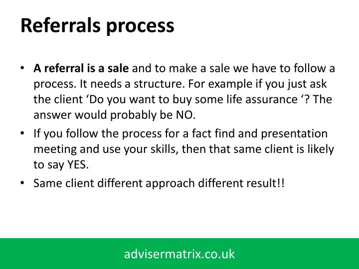 Referrals process