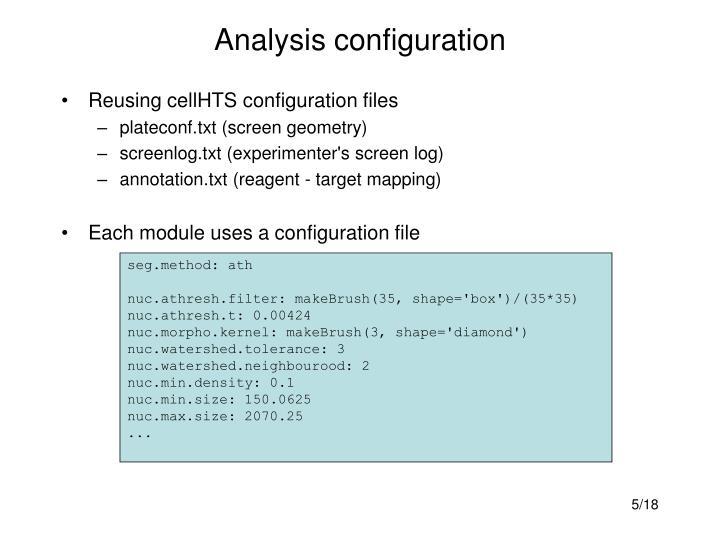 Analysis configuration