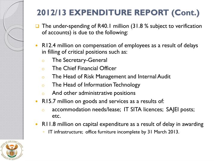 2012/13 EXPENDITURE REPORT (Cont.)