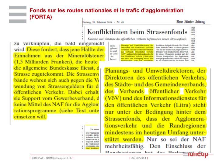 Fonds sur les routes nationales et le trafic d'agglomération (FORTA)