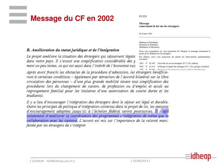 Message du CF en 2002