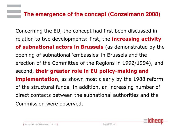 The emergence of the concept (Conzelmann 2008)