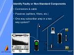 identify faulty or non standard components