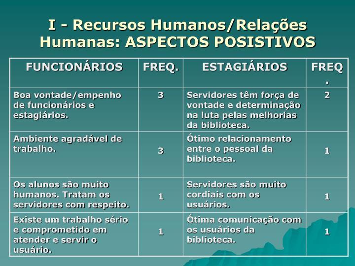 I - Recursos Humanos/Relações Humanas: ASPECTOS POSISTIVOS