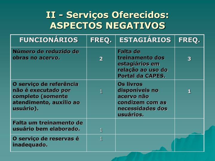II - Serviços Oferecidos:
