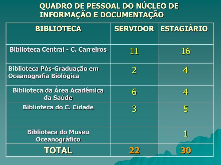 QUADRO DE PESSOAL DO NÚCLEO DE     INFORMAÇÃO E DOCUMENTAÇÃO