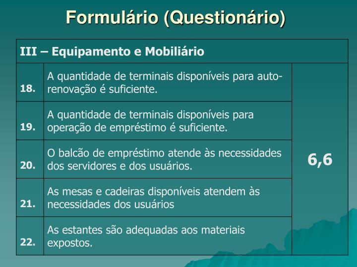 Formulário (Questionário)