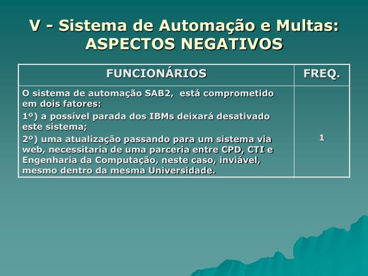 V - Sistema de Automação e Multas: ASPECTOS NEGATIVOS