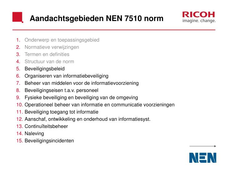 Aandachtsgebieden NEN 7510 norm