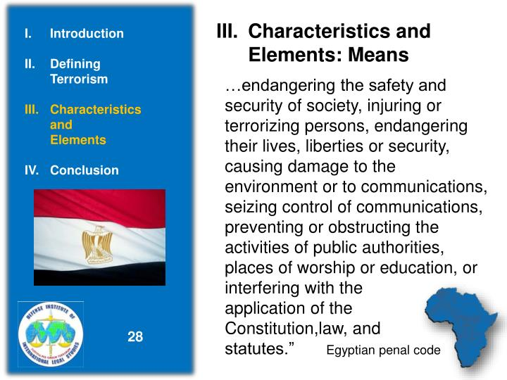 Characteristics and          Elements: Means
