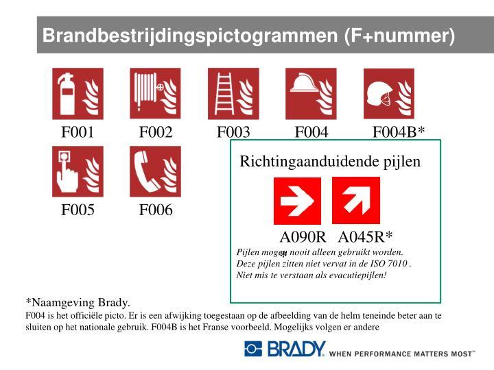 Brandbestrijdingspictogrammen (F+nummer)