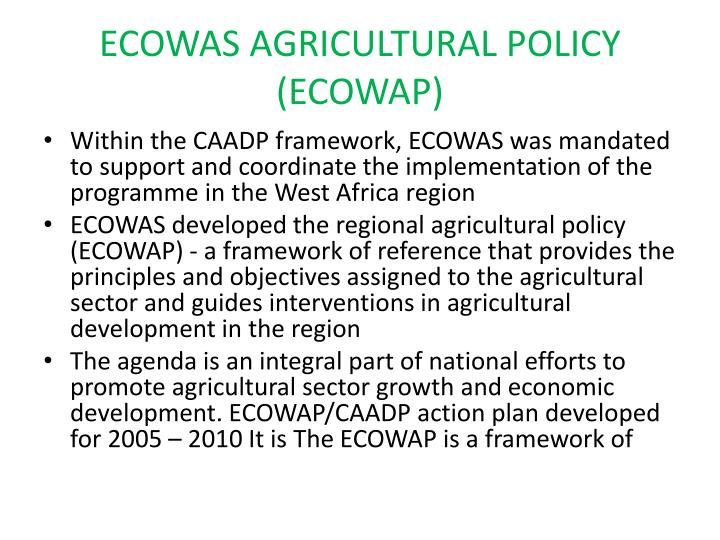 ECOWAS AGRICULTURAL POLICY (ECOWAP)