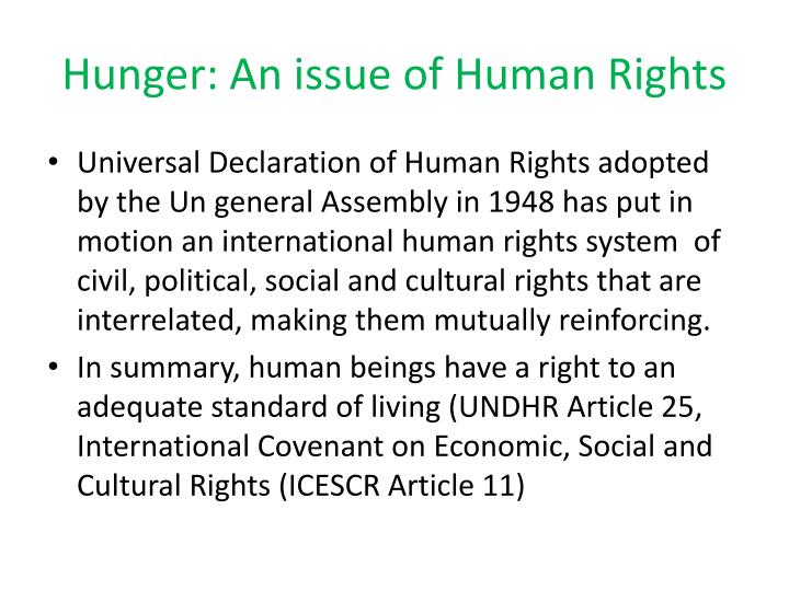 Hunger: An issue of Human Rights