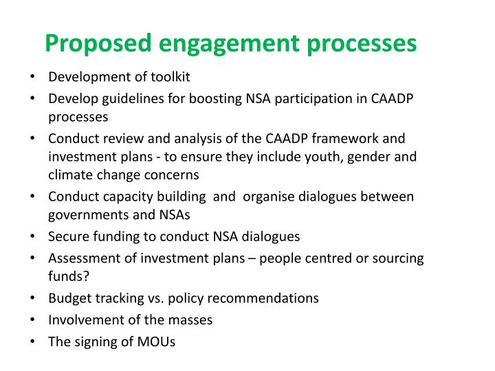 Proposed engagement processes