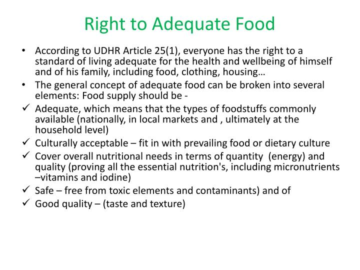 Right to Adequate Food