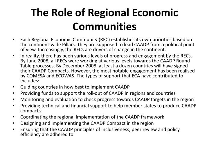 The Role of Regional Economic Communities