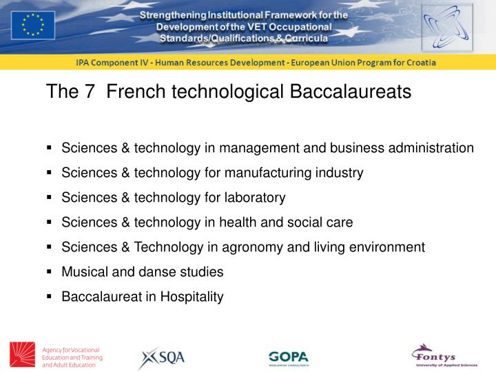 The 7  French technological Baccalaureats