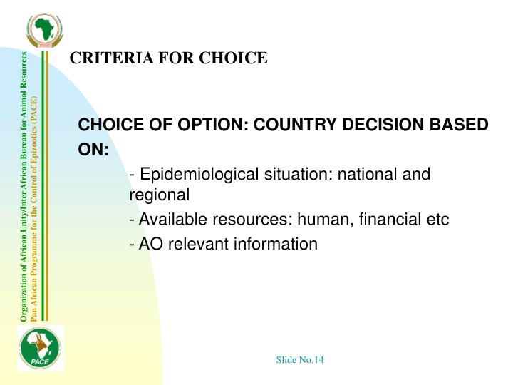 CRITERIA FOR CHOICE