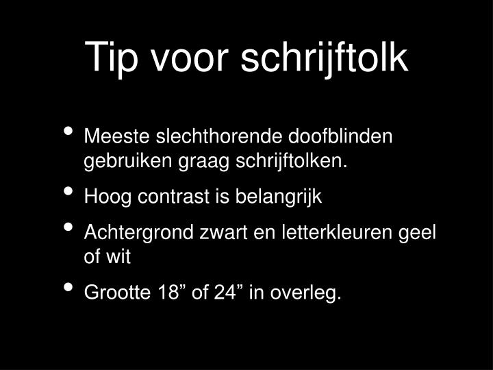 Tip voor schrijftolk