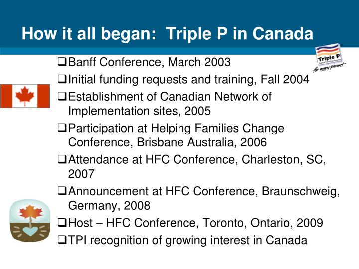 How it all began:  Triple P in Canada