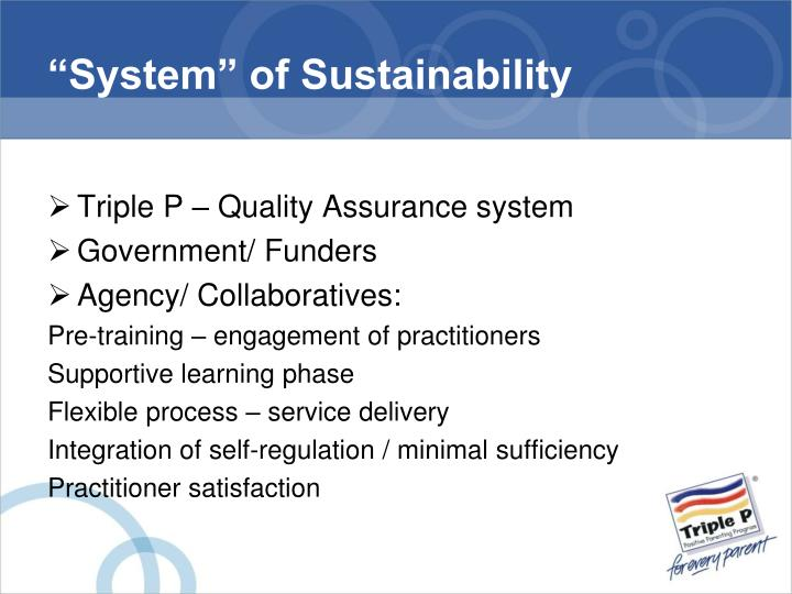 """""""System"""" of Sustainability"""