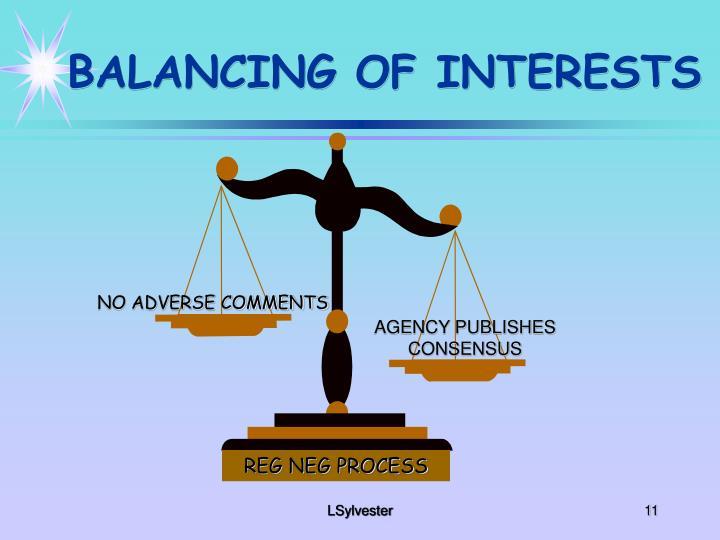 BALANCING OF INTERESTS