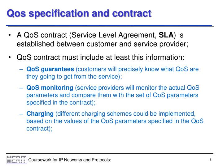Qos specification and contract