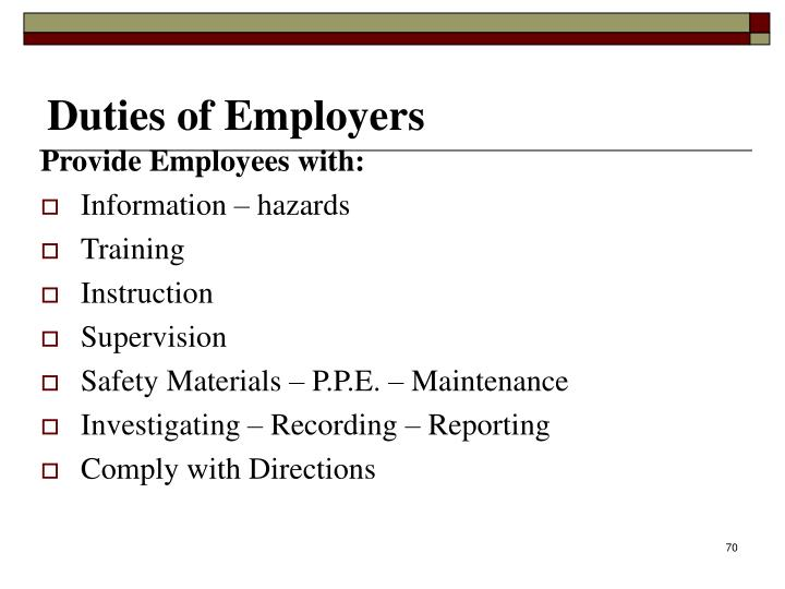 Provide Employees with: