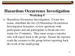 hazardous occurrence investigation