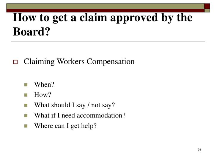 Claiming Workers Compensation