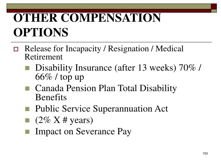 OTHER COMPENSATION OPTIONS