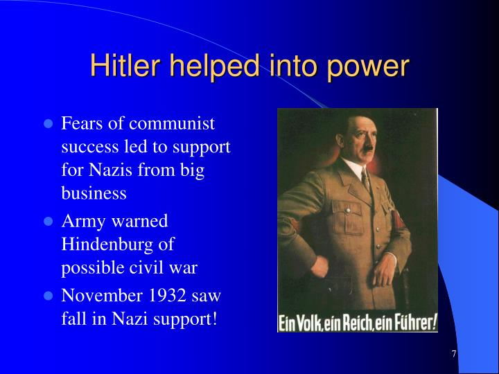 Hitler helped into power