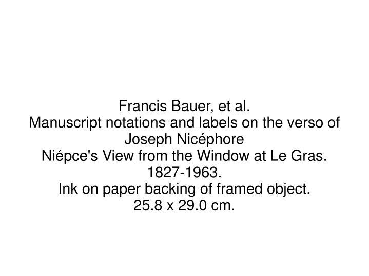 Francis Bauer, et al.