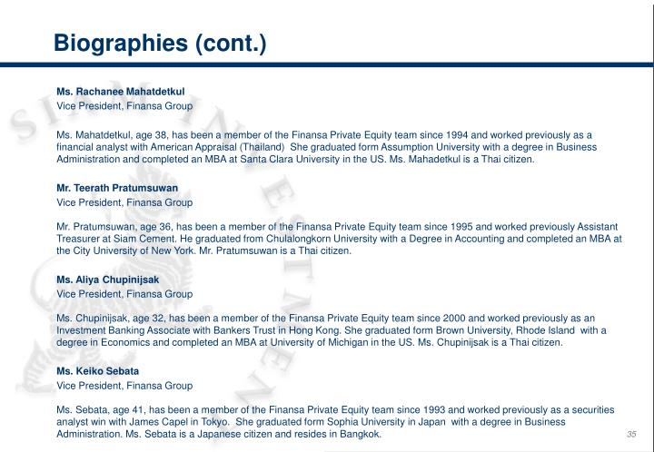 Biographies (cont.)