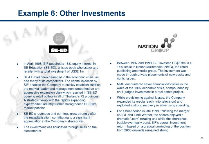Example 6: Other Investments