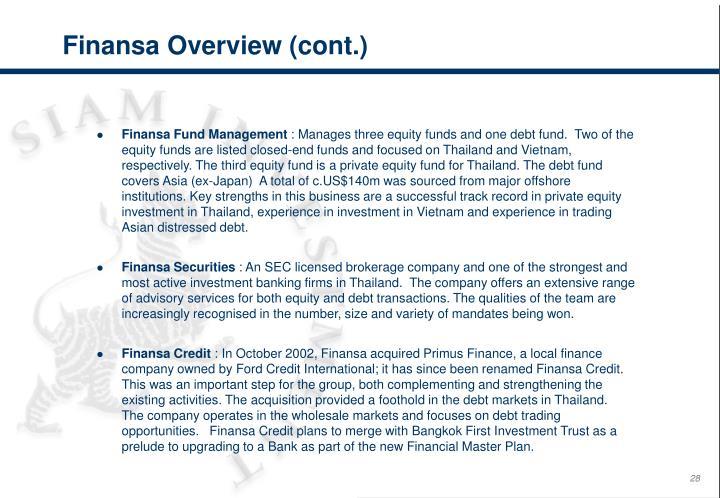 Finansa Overview (cont.)